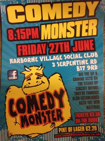 Banish those England blues.Come and have a good laugh at Comedy Monster